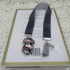 Bookmark Luxury Velvet - Charcoal with Retro Rings Charm and Tassel