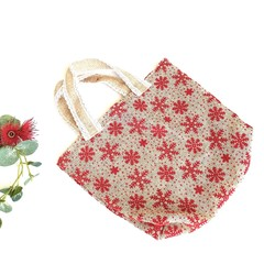 Reusable Rustic Christmas Fabric Jute Gift Bag Red Snowflakes Cotton Lace Ribbon