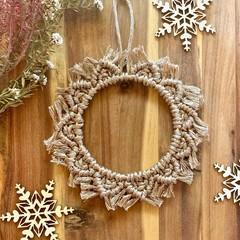 Metallic champagne mini macrame Christmas wreath
