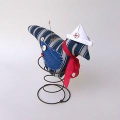 LITTLE BLUE BIRD Rusty Spring, Nautical, Sailor, Navy Blue White Stripe 50% OFF!