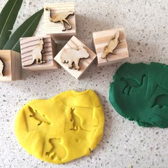 Timber Playdough Stamp Set Aussie Animals