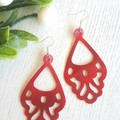 """Vintage Chandelier"" Genuine Leather Earrings, Shimmer Red"