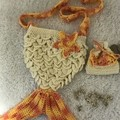 Crochet mermaid tote and matching coin purse