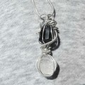 Tourmaline Clear Quartz pendant, two crystals pendant, sterling wire wrapped