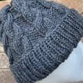 Handmade knitted grey cable beanie men's or ladies wool