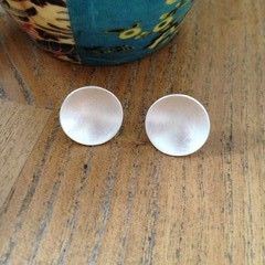 Recycled Silver 'brushed' concave disc studs