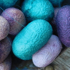 Whole Hand Dyed Mulberry Cocoons. Silk Cocoons Hand Dyed 25 Cocoons minimum.