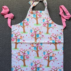 Handmade white and pink owls kids apron
