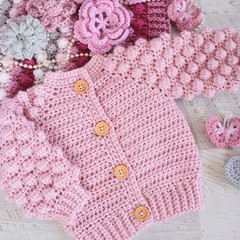 Dusty Pink Hand Crocheted Baby Bobble Cardigan  0-6 months