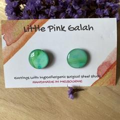 Aqua/Green Resin Stud Earrings