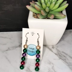 Christmas Earrings: Gold, green, purple and red