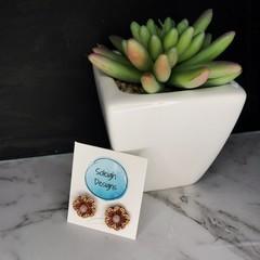 Brown flower studs