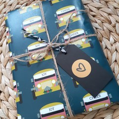 Custom Gift Wrap, Jeepney Christmas, Dark Teal