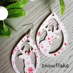 Christmas Reindeer Teardrop, Faux Leather Earrings 3x patterns