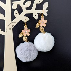 3 Colours Nickel-free Hypoallergenic Fluffy Flower Drop Earrings