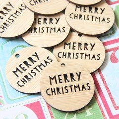 4 Bamboo Christmas Gift Tags, 11 Designs, Gift Wrapping, Christmas Decorations