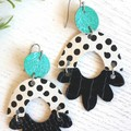 Arch Flower, Genuine Leather Earrings, Black/White, Aqua