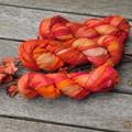 Silk Sari Ribbon ~ * Recycled Silk from India *~ 100gram Skein Deep Orange