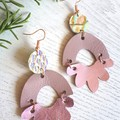 Arch Flower, Genuine Leather Earrings, Rose Gold/Pink