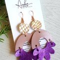 Arch Flower, Genuine Leather Earrings, Rose Gold/Purple