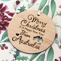 Merry Christmas From Australia Decoration, Australian Made Gift Souvenir, Bamboo
