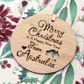 Merry Christmas From Australia Decoration, Australian Made Gift Souvenir, Bamboo