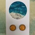 Orange Glass Dome Earrings