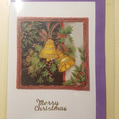 Handmade Christmas card  No.4 golden bells with holly-blank inside