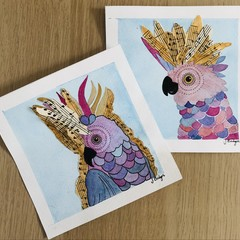 Chirpy chaps! A pair of original mixed media paintings