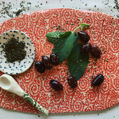 Just in time for Christmas A Gorgeous Porcelain Platter - blue or red