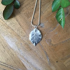 Recycled 99.9% Silver 'Rose Leaf' on a Sterling Silver chain