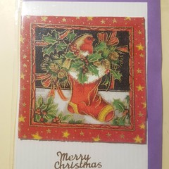 Handmade Christmas card  No.1 Robin in stocking -traditional scenes-blank inside
