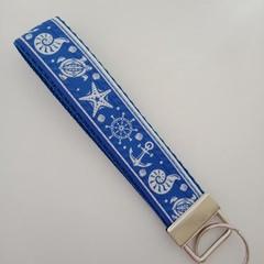 Blue and white sea / turtle / nautical key fob wristlet