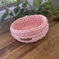 Dusty Pink-Crochet Basket/Tray- Mid/Medium size-home decor-recycled tshirt yarn