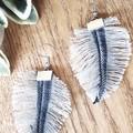 Denim Feather Earrings, Light Blue
