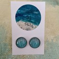 Blue Seashell Glass Dome Earrings