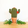 Dark Green Crochet Cactus with Orange Flowers in Terracotta Pot
