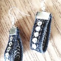 Loop Denim/ Diamante Earrings, Blue
