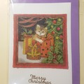 Handmade Christmas card  No.3 very kitten with parcels-blank inside