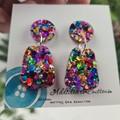 Rainbow Pop Dangle Stud Drop - Button - Glitter Dangle earrings - VARIOUS