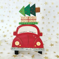 Hand painted Wooden Christmas car  stacker with presents and Christmas Tree