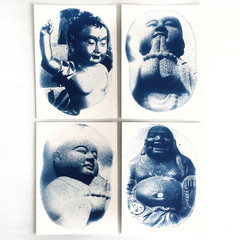 Original Cyanotypes, Set of Four Buddha Original Art Prints