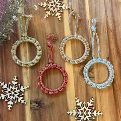 Mini macrame metallic Christmas wreath ornament