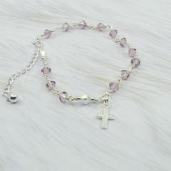 Rosary Bracelet -- Amethyst Light -- Sterling Silver