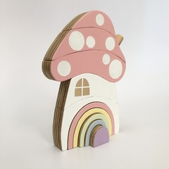 Hand painted RAW EDGE Wooden PASTEL Toadstool House stacker with Rainbow Door.