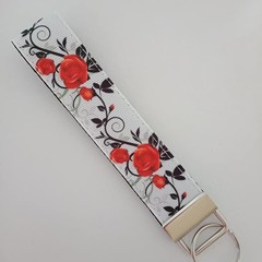 Red and black rose print key fob wristlet