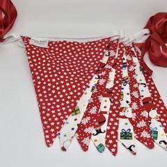 Christmas Fabric Bunting Santa & Christmas Trees