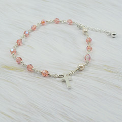 Rosary Bracelet -- Rose Peach -- Sterling Silver