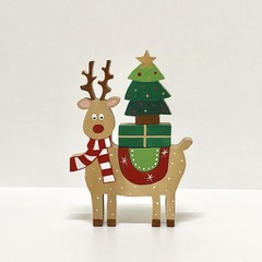 Hand painted Wooden Ralph Reindeer Stacker  with Rainbow Coat.