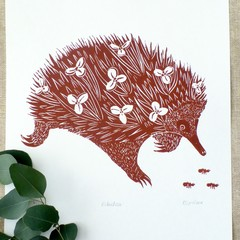 Australian Echidna Hand Printed Linocut Original Print / Australian Wildlife